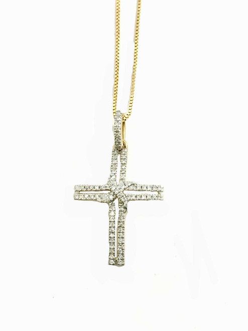 10K Gold 0.11 ct diamonds cross with 10K Gold chain