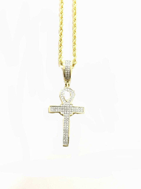 10K Gold 0.22ct diamonds ankh with 10K gold chain