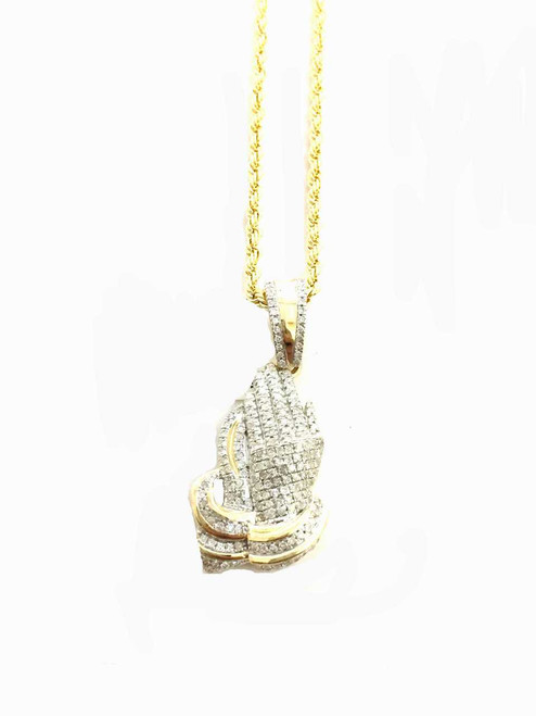 10K gold Praying Hand 0.49ct diamonds with 10K gold chain