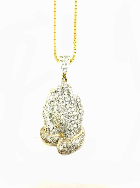 10K gold 0.30ct diamonds praying hand with 10K gold chain