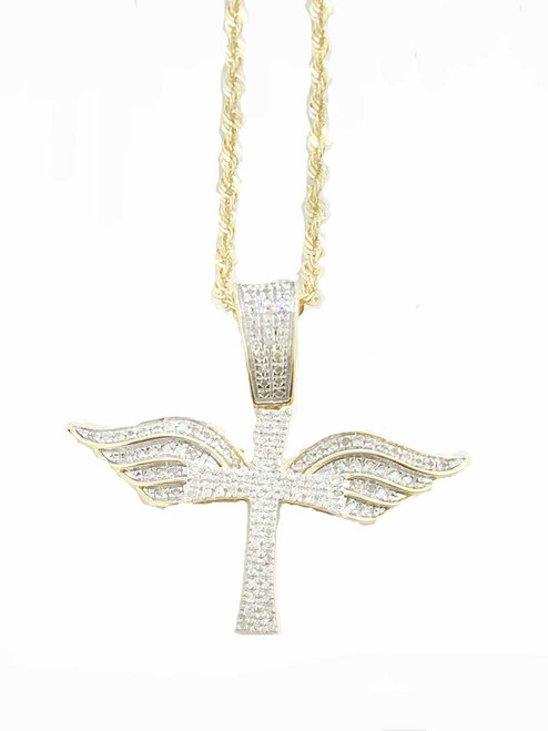 10K gold 0.31ct Diamonds Cross with Wings