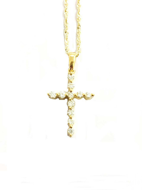 10K gold 0.24ct Diamonds Cross With Chain