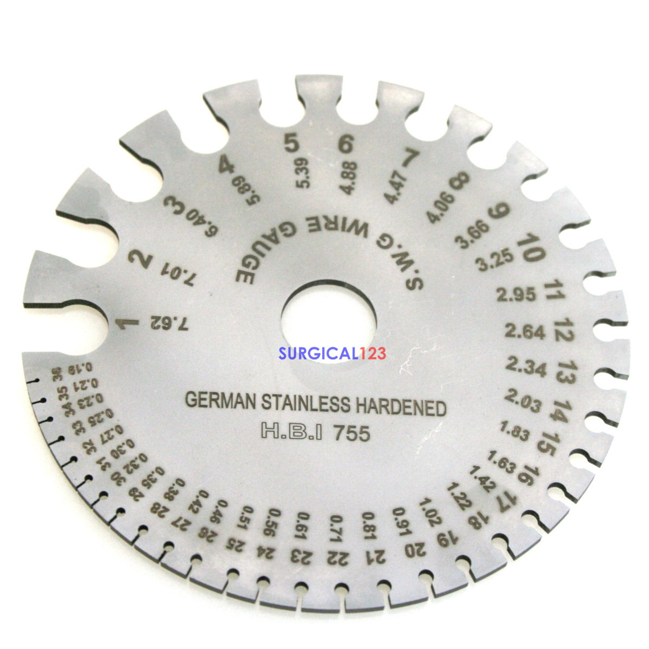 Wire Gauge Graduated in 1-36 French & 0.19 to 7.62mm - SURGICAL123.COM