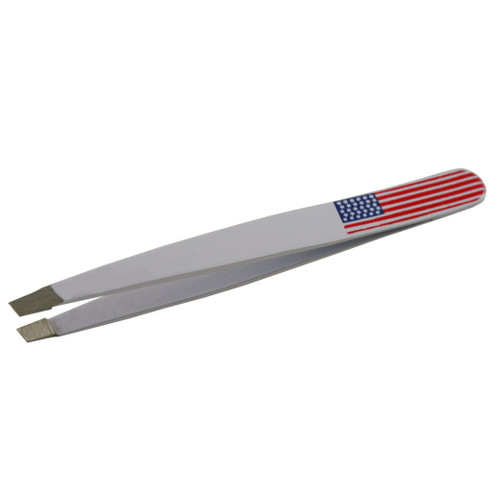 Slant Tip Tweezers Standard Model White Color with US Flag