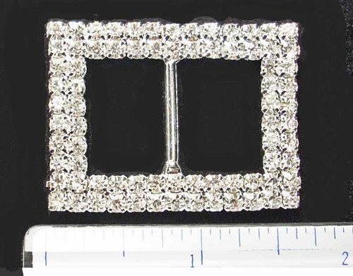 Double Row Rectangle * Irish Dance Crystal Shoe Buckles