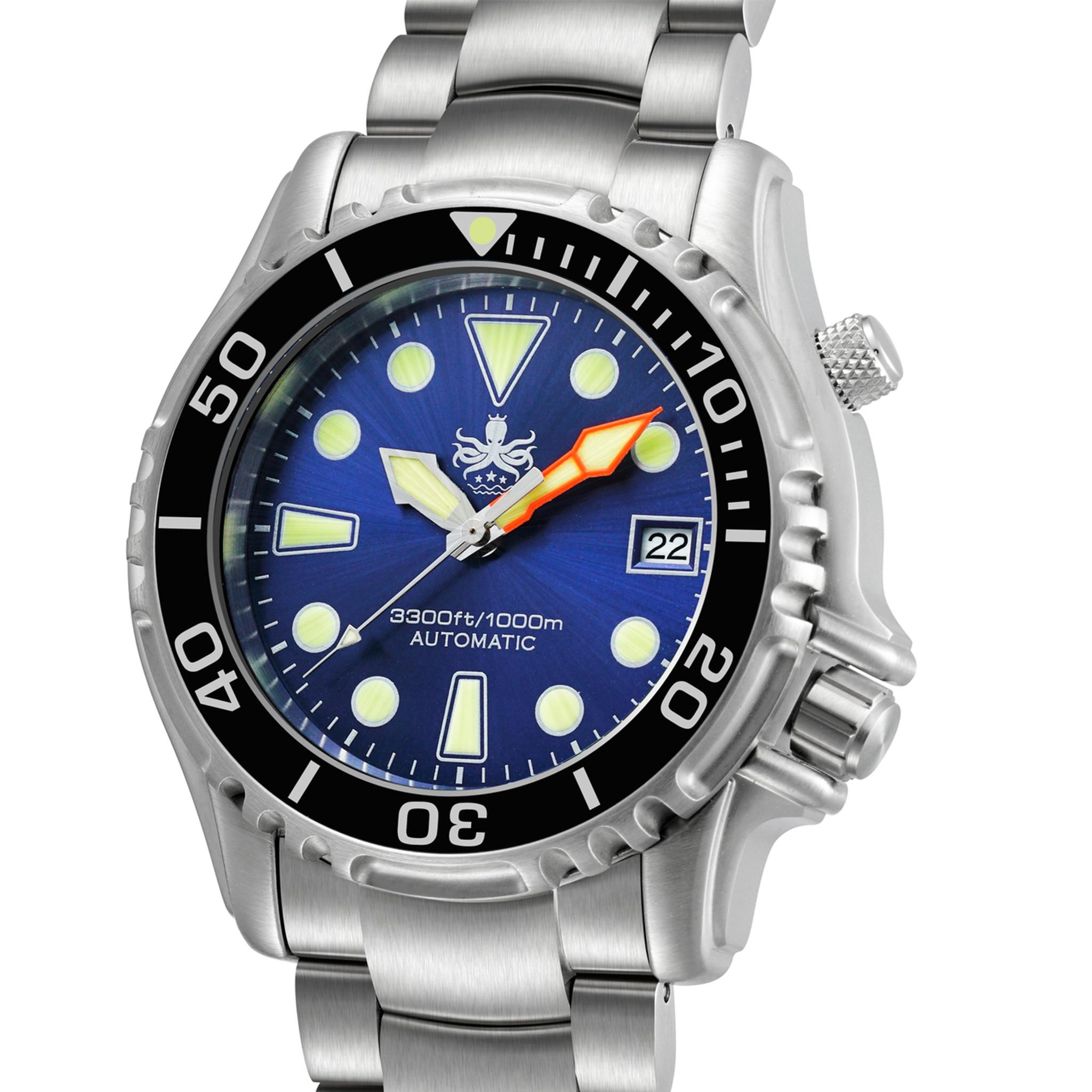 Phoibos ocean master py005b 1000m automatic dive watch blue - Oceanic dive watch ...