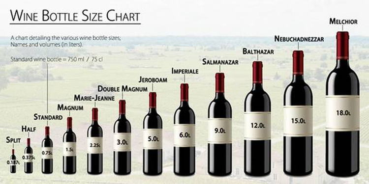large format wine bottle chart
