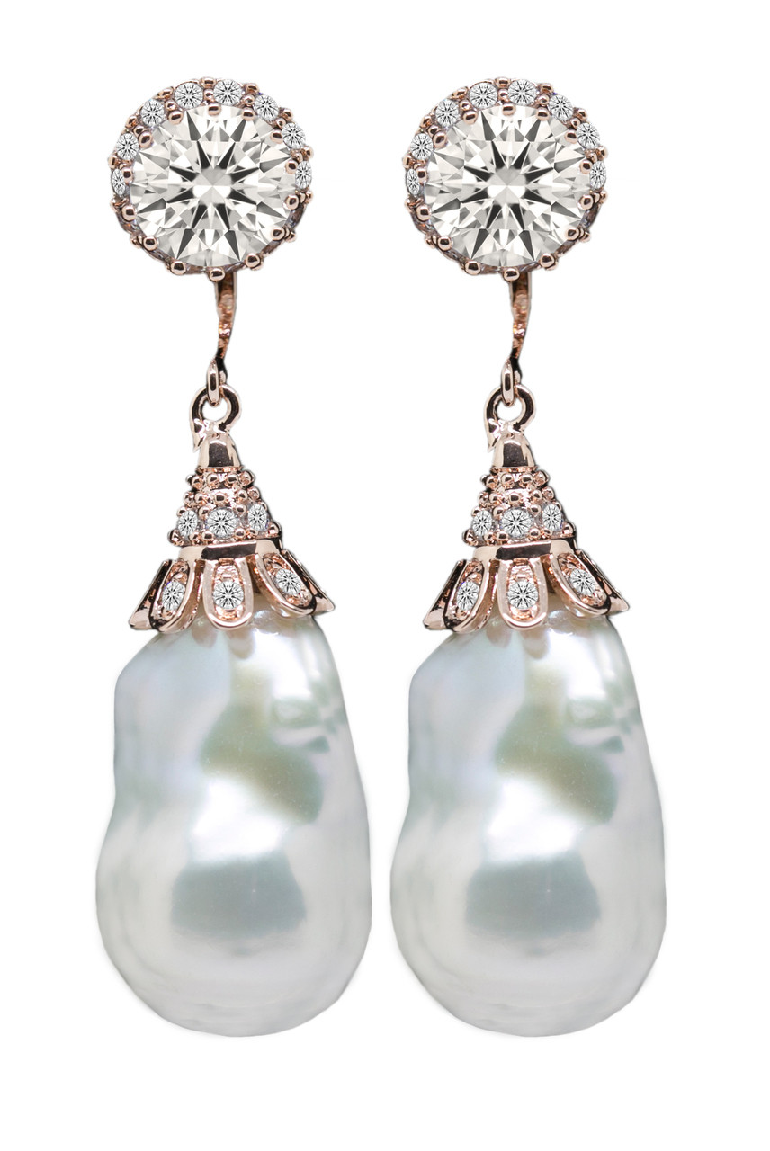 Baroque Pearl Drop Earrings with Swarovski Crystal in Rose Gold ...