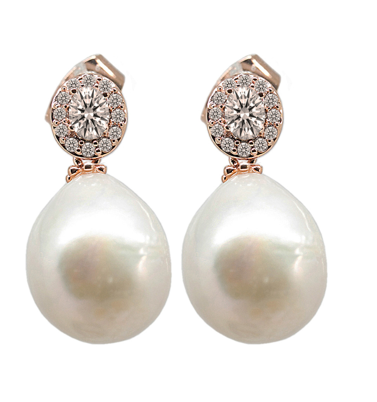 Rose Gold White Pearl Drop Earrings with Swarovski Crystal ...