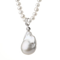 Freshwater Fireball Pearl Pendant on White Round Pearl Necklace2