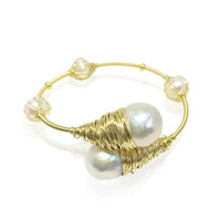 Encased Baroque Pearls Gold Bangle