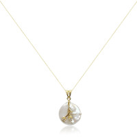 White Coin Pearl Gold Plated Sterling Silver Pendant whole
