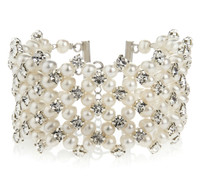 Multi-strand Ivory Pearls and Diamante Bridal Cuff