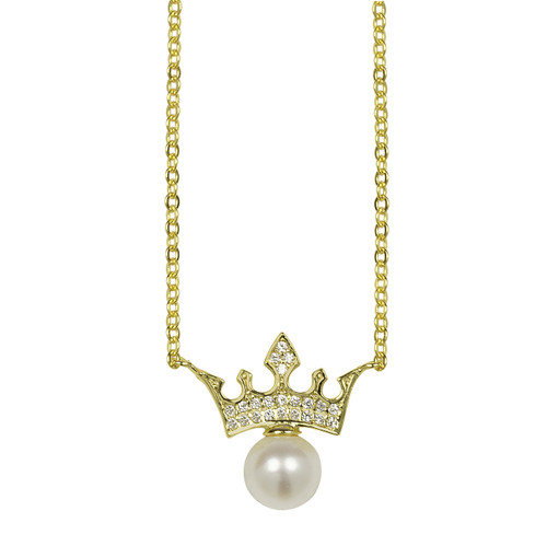 Crown with White Pearl Pendant Necklace