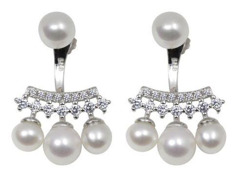 Cluster White Pearl Drop Sterling Silver Earrings