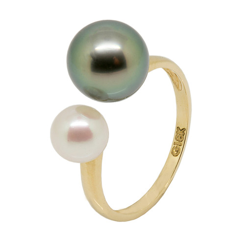 White Akoya and Black Tahitian Dual Pearls Adjustable Ring in Yellow Gold (size L 1/2)