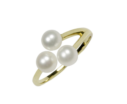 Three White Pearls Adjustable Ring in 9ct Yellow Gold