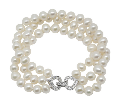 Three Strand White Pearls Bracelet with Heart Buckle
