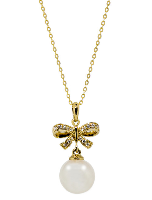 18ct Gold Bow and Pearl Pendant Necklace