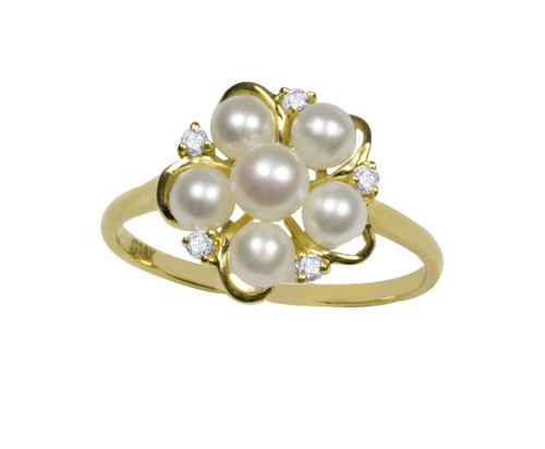 White Pearls Flower Ring in 18ct Yellow Gold (size L 1/2)
