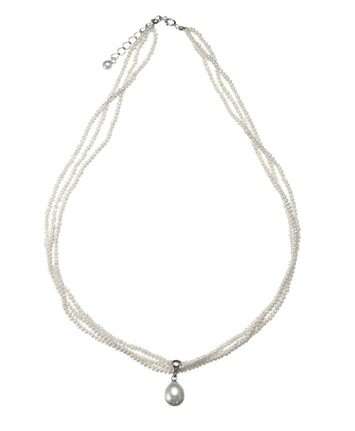 Three Strand White Seed Pearls Necklace with Pendant