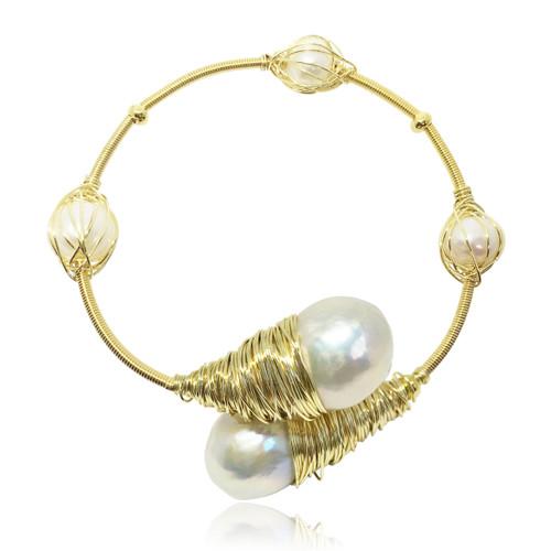Lustrous - Multi-colour Baroque Pearl Encased Bracelet xYeSW