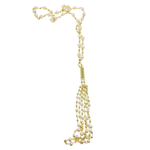 White Pearls and Gold Beads Lariat
