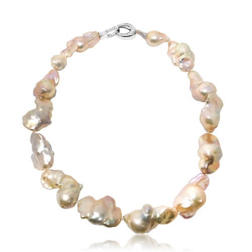Fireball Pink Baroque Pearl Necklace
