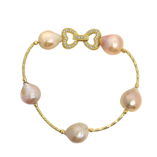 Multicolour Baroque Pearl Bracelet with Dual Heart Buckle