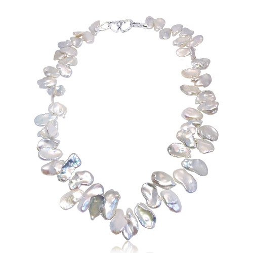 Petal White Keshi Pearl Necklace
