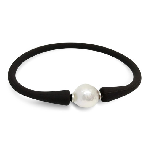 White Baroque Pearl on Leather Bracelet