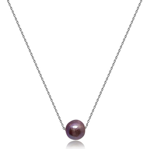 Moving Baroque Pearl Pendant Silver Chain Necklace, Purple