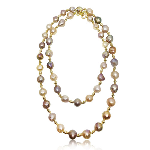 Baroque Pearl Long Necklace Natural Multicolour