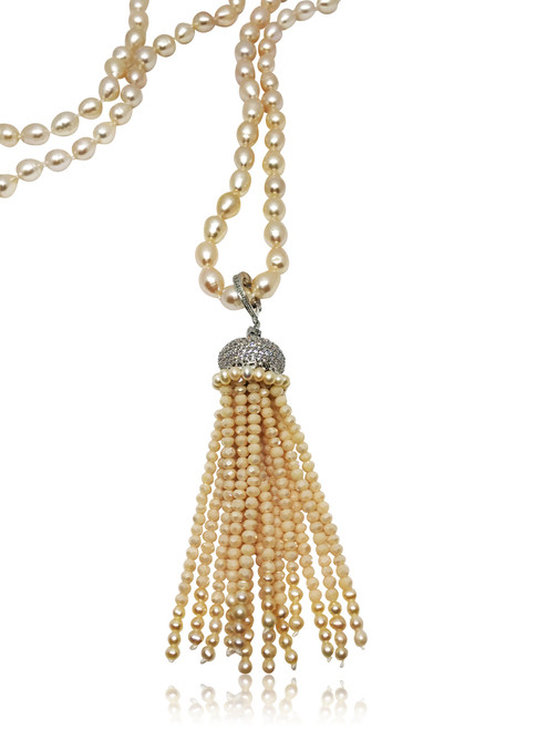 Long Peach Pearl Necklace with multifaceted Crystal Tassel