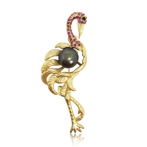 Flamingo and Peacock Pearl Brooch