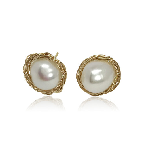 White Baroque Pearl Stud Earrings in Gold Plated Sterling Silver