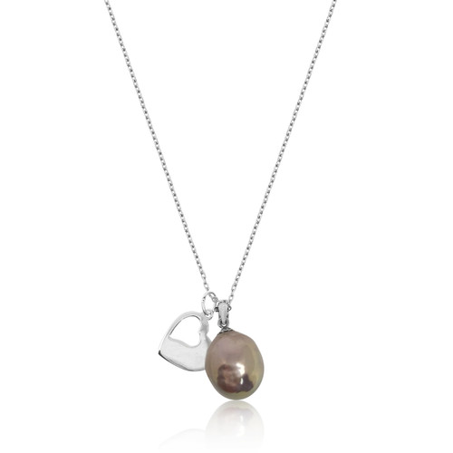 Lustrous Rainbow Baroque Pearl with Cut Out Heart Pendant Sterling Silver Necklace