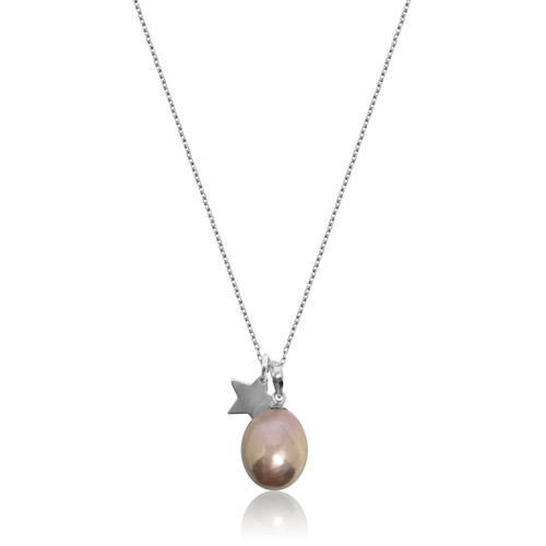 Lustrous Rainbow Baroque Pearl with Silver Star Pendant Necklace