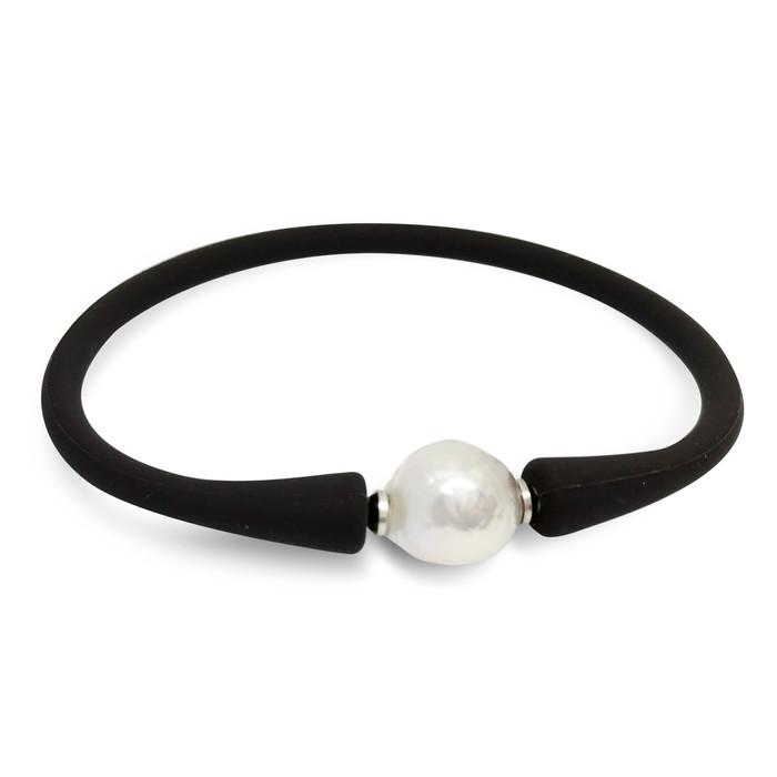Lustrous Rain 'Silvery White' Baroque Pearl on Leather Bracelet