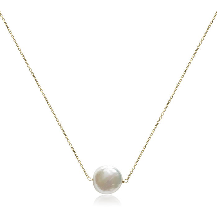 White Coin Pearl Floating Pendant Gold Necklace