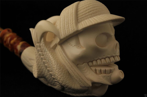 Sherlock SKULL in Claw Carved by I. BAGLAN Block Meerschaum Pipe in a case 4648