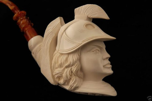 Athena Hand Carved by I. BAGLAN Block Meerschaum Pipe in a fit case 5905 New
