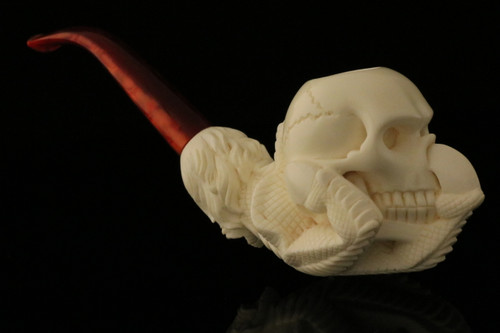 Skull in Claw Hand Carved Block Meerschaum Pipe with CASE 8649