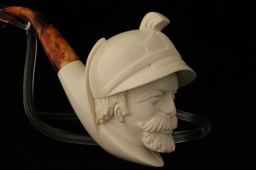 FRENCH SOLDIER Meerschaum Pipe Tobacco Pipa w/CASE 1435