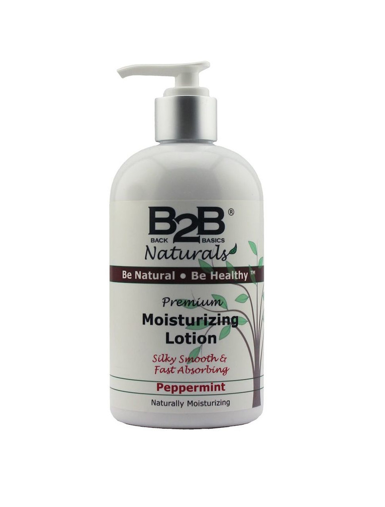 B2B Naturals Premium Moisturizing Lotion with Peppermint essential oil.  Silky smooth and fast absorbing.