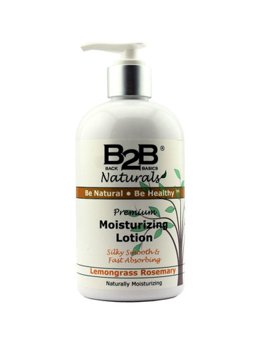 B2B Naturals® Premium Moisturizing Lotion with Lemongrass and Rosemary essential oils.  Silky smooth and fast absorbing.