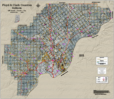 Floyd-Clark Counties Indiana 2018 Aerial Wall Map