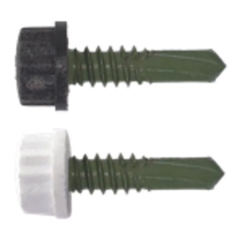 "100/Pack Nylon Head 16 x 1"" Self Drilling Screw - Choice Of Finish"