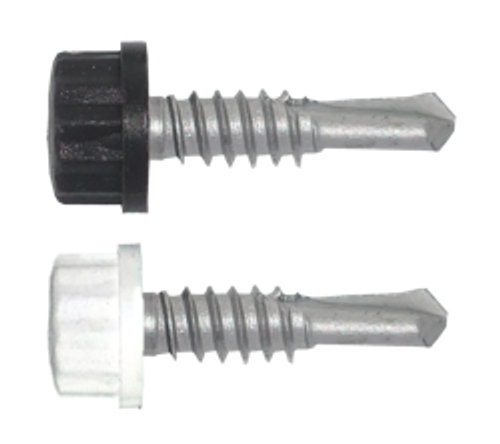 """100/Pack Nylon Head 14 x 1"""" True Stainless Self Drilling Screw - Choice Of Finish"""
