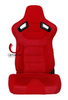 Cipher Auto - AR-9 Revo Racing Seats Red Suede & Fabric w/ Carbon Fiber Poly Backing - Pair